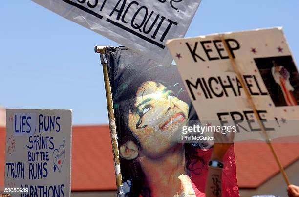 Support messages are displayed out front the courthouse as fans wait for a verdict in the Michael Jackson child molestation trial at the Santa...