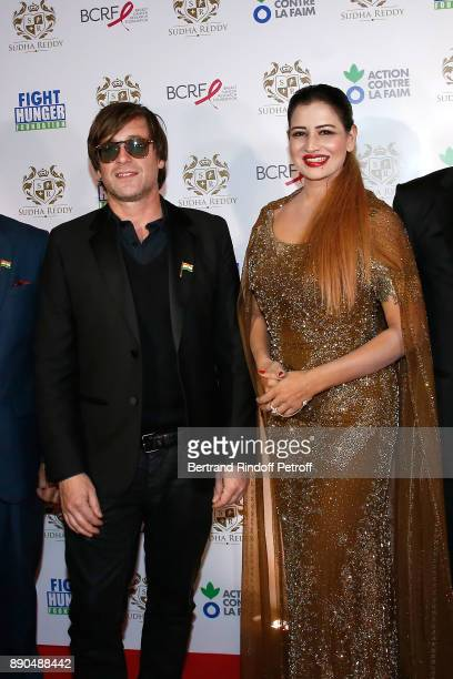 Support of Action Contre La Faim singer Thomas Dutronc and Indian millionaire Sudha Reddy attend Sudha Reddy gives 135000 Euros to the Action Contre...