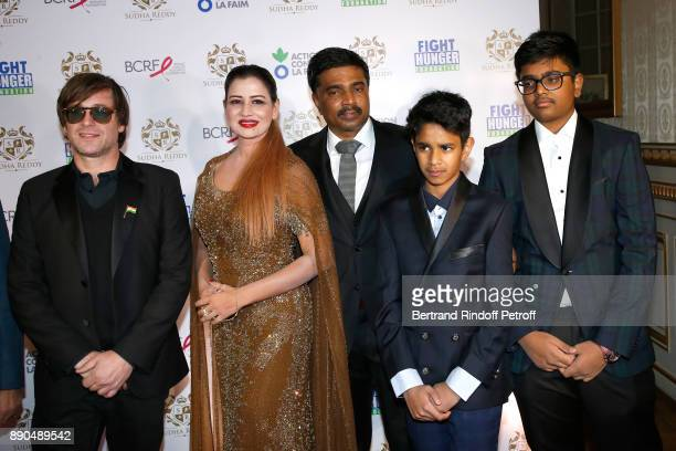 Support of Action Contre La Faim singer Thomas Dutronc Indian millionaire Sudha Reddy her husband Krishna and their sons Pranav and Manar attend...