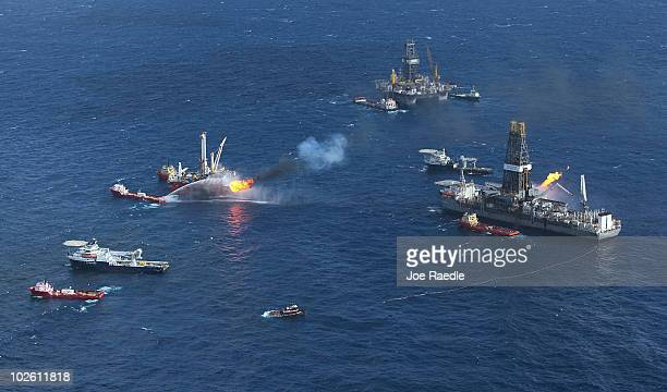 Support ships are seen near the Discoverer Enterprise drilling rig as they continue the effort to recover oil from the Deepwater Horizon spill site...