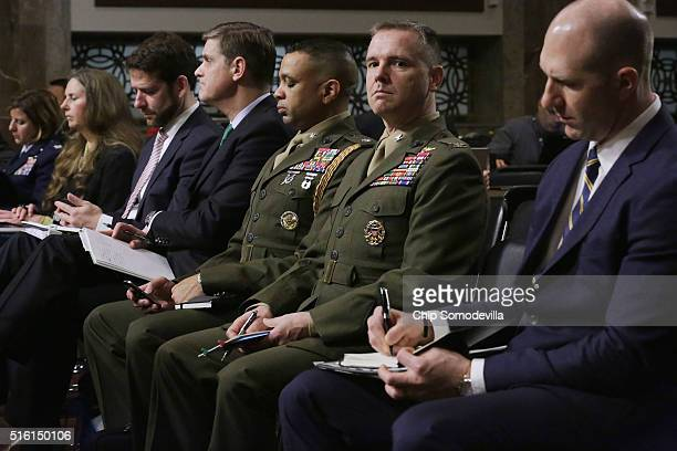 Support staff for Chairman of the Joint Chiefs of Staff Gen Joseph Dunford Jr Defense Secretary Ashton Carter and US Defense...