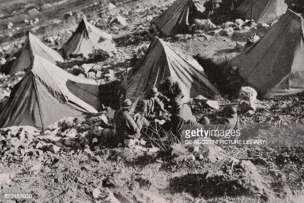 Support troops resting in their tents Italy World War I from l'Illustrazione Italiana Year XLV No 15 April 14 1918