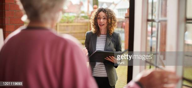 support worker visit - house call stock pictures, royalty-free photos & images