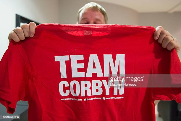 A supporter attends a rally led by Labour leadership candidate Jeremy Corbyn at the Mercure Cardiff Holland House Hotel on August 11 2015 in Cardiff...
