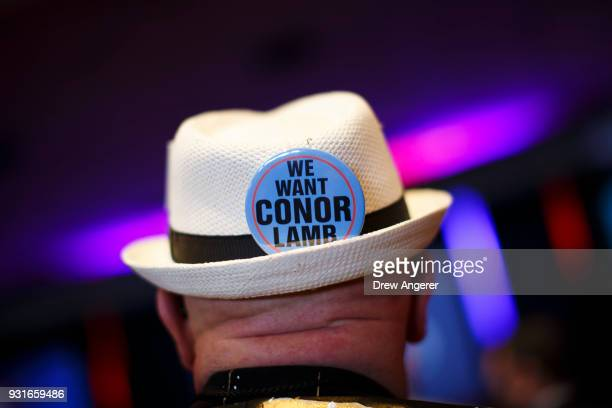 A supporter attends an election night event for Conor Lamb Democratic congressional candidate for Pennsylvania's 18th district March 13 2018 in...