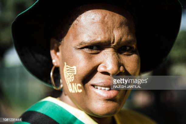 A supporter attends the African National Congress 107th anniversary celebrations at the Moses Mabhida Stadium in Durban on January 12 2019 South...