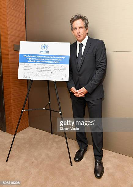 UNHCR supporter Ben Stiller attends UNHCR #WithRefugees petition handover at UN General Assembly Hall at United Nations on September 16 2016 in New...