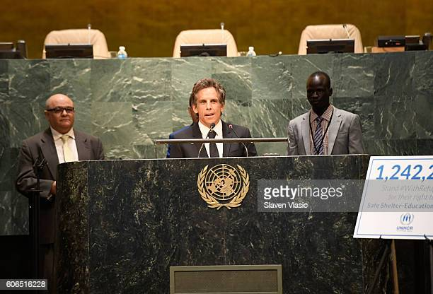 UNHCR supporter Ben Stiller speaks during UNHCR #WithRefugees petition handover at UN General Assembly Hall at United Nations on September 16 2016 in...