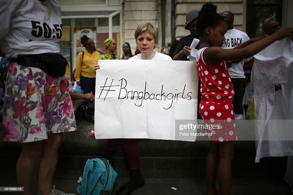 Demonstration Outside Nigerian Embassy In London Over Abduction Of Schoolgirls In Nigeria : News Photo
