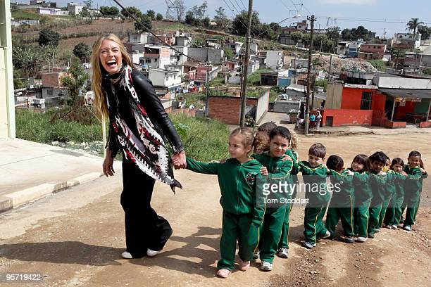 UNICEF supporter Cat Deeley visits a UNICEF project in Sao Paulo Brazil which is helping the poorest young people of the city to overcome the...