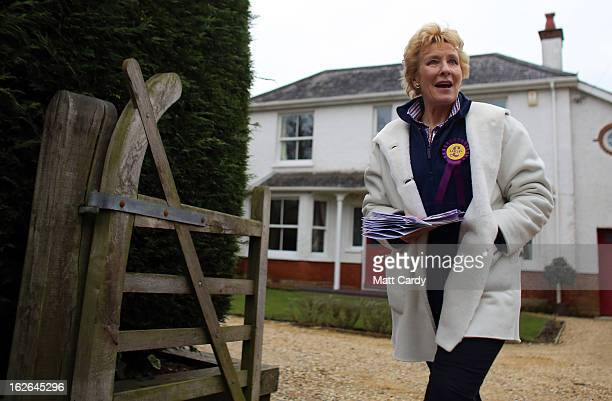 UKIP supporter Christine Hamilton knocks on doors in a street as she helps campaign for UKIP in the forthcoming byelection on February 25 2013 in...