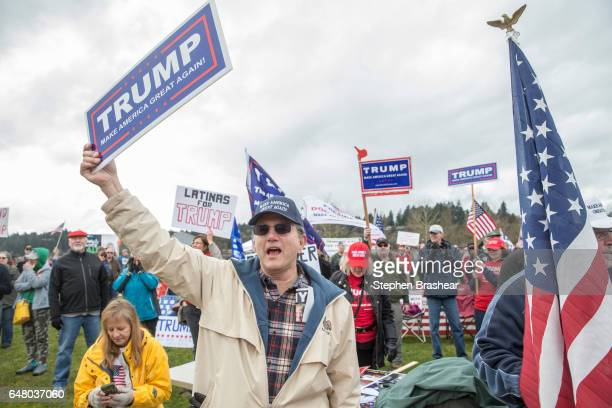 Supporter Chuck Prater of Tacoma Washington takes part in the March 4 Trump rally on March 4 2017 in Olympia Washington At the mostly peaceful rally...