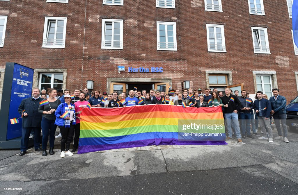 Supporter club Hertha-Junxx with a rainbow flag in front of the office of Hertha BSC on july 12, 2018 in Berlin, Germany.