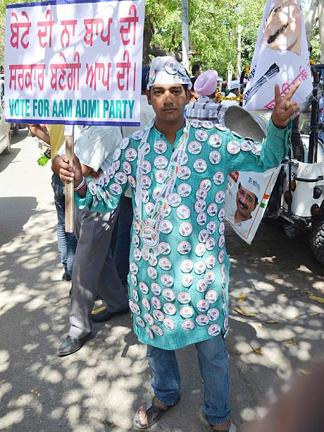 AAP supporter during an election campaign of AAP leader Yogendra Yadav in favor of Dr Daljit Singh AAP candidate from Amritsar on April 27 2014 in...