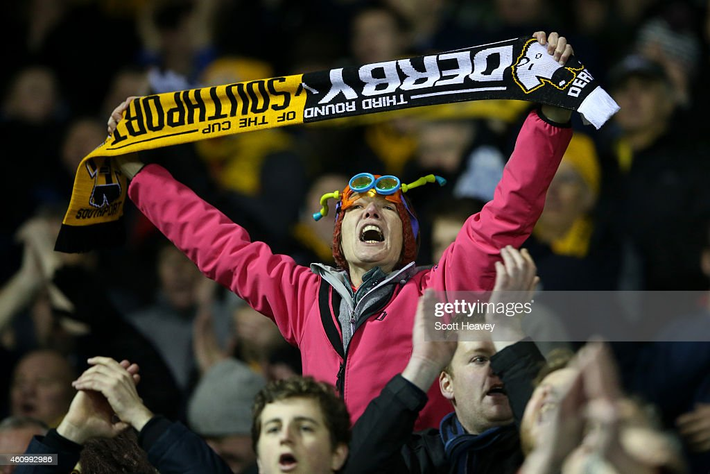 A supporter enjoys the atmosphere during the FA Cup Third Round match between Derby County and Southport FC at iPro Stadium on January 3, 2015 in Derby, England.