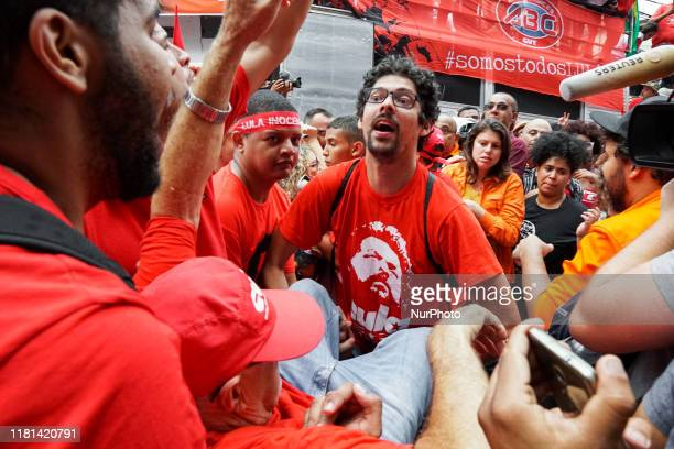 A supporter fainted right after that the former President Luiz Inacio Lula da Silva went through the crowd after his speech in front of ABC...
