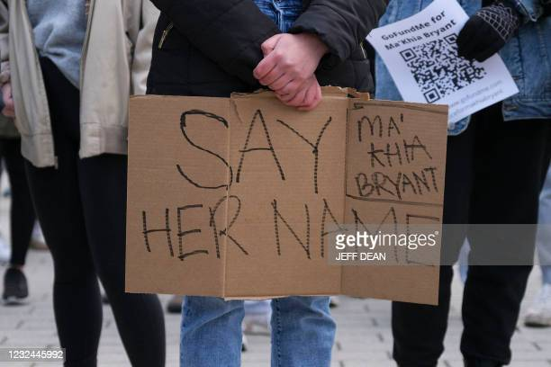 Supporter holds a sign during a staged sit-in at the Ohio Union building on the campus of The Ohio State University in Columbus, Ohio on Wednesday,...