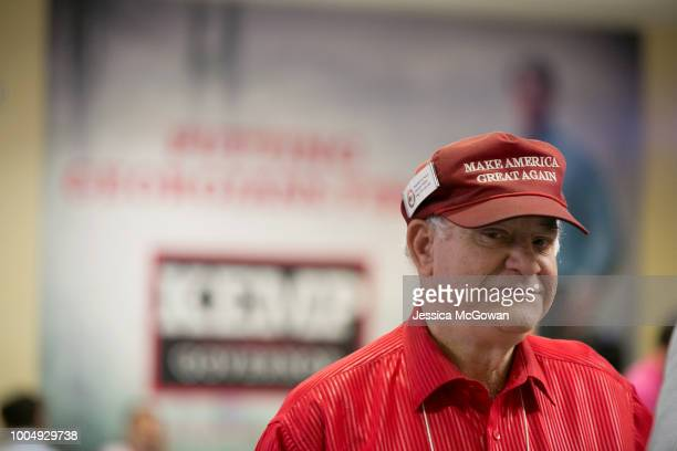 Supporter Howard Miller wears his Make America Great Again hat at the election watch party for Secretary of State Brian Kemp on July 24 2018 in...