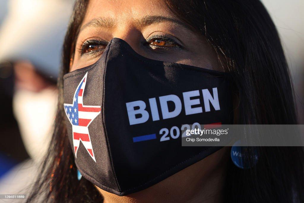 President-Elect Biden Campaigns With Democratic GA Senate Candidates : News Photo