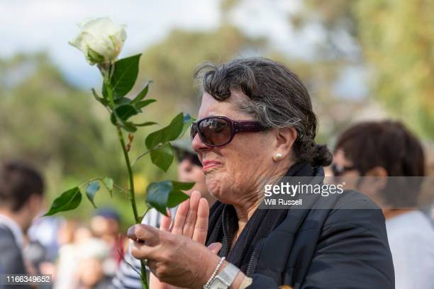 Supporter looks on as Belinda Teh speaks to Euthanasia advocates at Kings Park on August 06, 2019 in Perth, Australia. Teh met with Premier Mark...