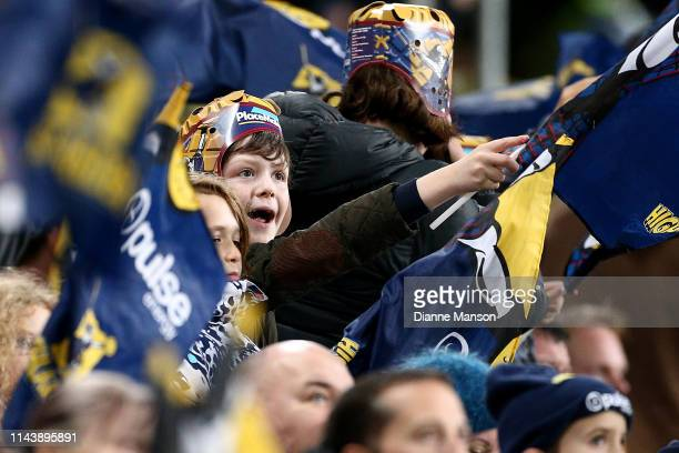Supporter looks on during the round 10 Super Rugby match between the Highlanders and the Blues at Forsyth Barr Stadium on April 20, 2019 in Dunedin,...