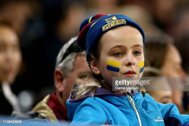 Supporter looks on during the round 13 Super Rugby match between the Highlanders and the Jaguares at Forsyth Barr Stadium on May 11, 2019 in Dunedin,...