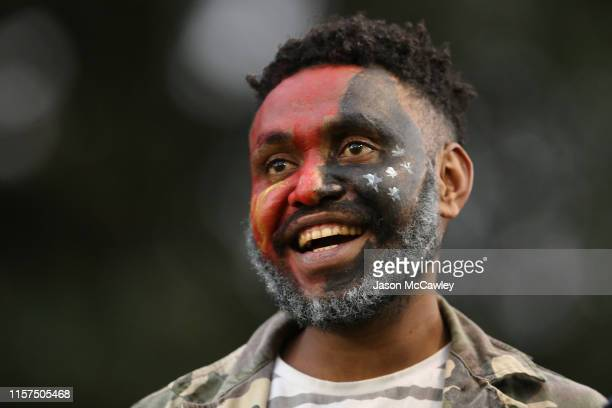 Supporter looks on during the Women's Pacific International Test Match between Fijji and Papua New Guinea at Leichhardt Oval on June 22, 2019 in...