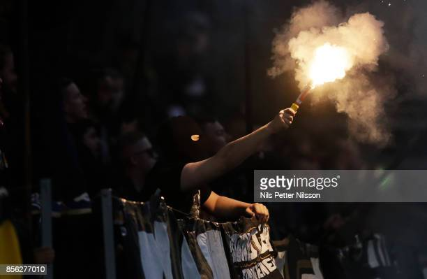 A supporter of AIK during the Allsvenskan match between AIK and IF Elfsborg at Friends Arena on October 1 2017 in Solna Sweden