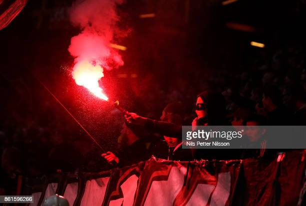 A supporter of AIK during the Allsvenskan match between AIK and Jonkopings Sodra IF at Friends Arena on October 15 2017 in Solna Sweden