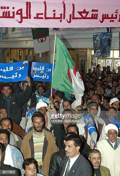 Supporter of Ali Benflis , secretary general of the ruling National Liberation Front and presidential candidate, gather for a meeting 02 April 2004...