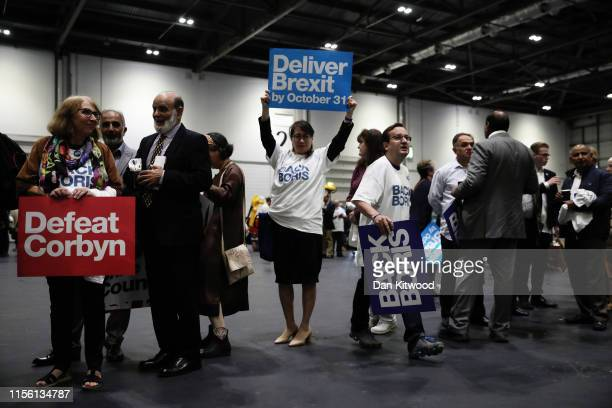 Supporter of Boris Johnson attends the final hustings of the Conservative leadership campaign at ExCeL London on July 17 2019 in London England Boris...