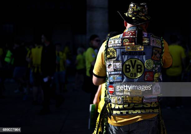 A supporter of Borussia Dortmund is seen seen prior to the DFB Cup Final 2017 between Eintracht Frankfurt and Borussia Dortmund at Olympiastadion on...