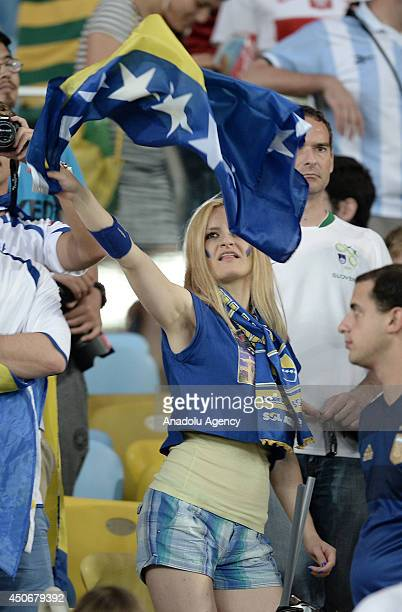A supporter of Bosnia and Herzegovina waves the national flag during the 2014 FIFA World Cup Brazil Group F match between Argentina and...