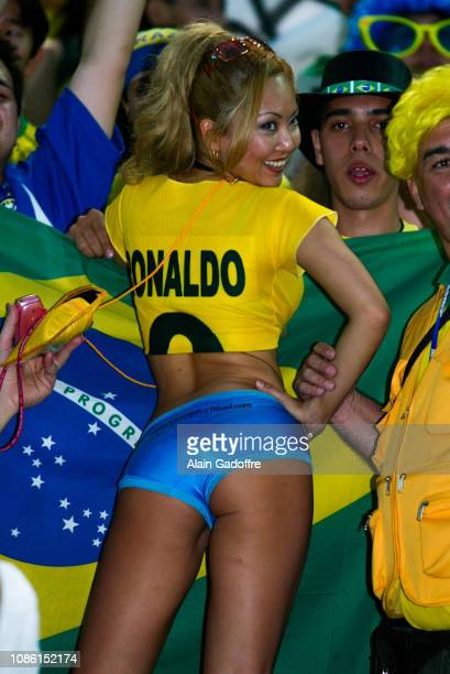 Supporter of Brazil during the FIFA world cup match final between Germany and Brazil on June 30 2002 in Nissan Stadium Japan