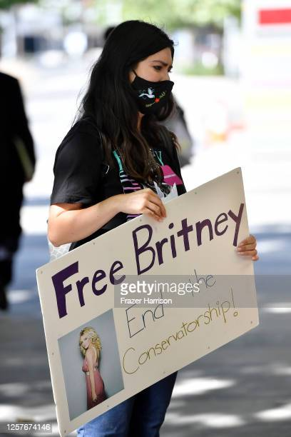 A supporter of Britney Spears gathers with others outside a courthouse in downtown for a #FreeBritney protest as a hearing regarding Spears'...