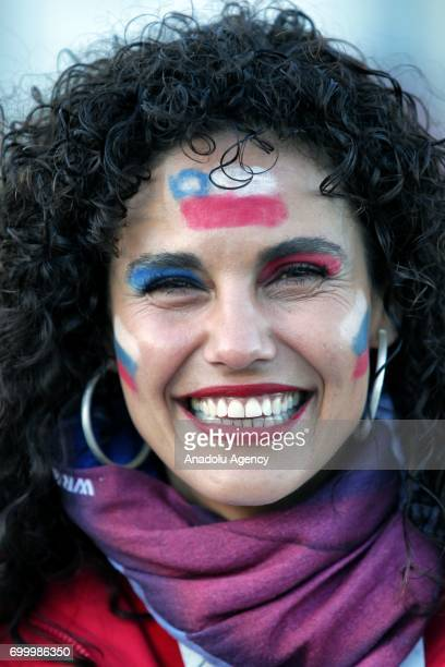 A supporter of Chile poses for a photo during the FIFA Confederations Cup 2017 group B soccer match between Germany and Chile at 'KazanArena' stadium...