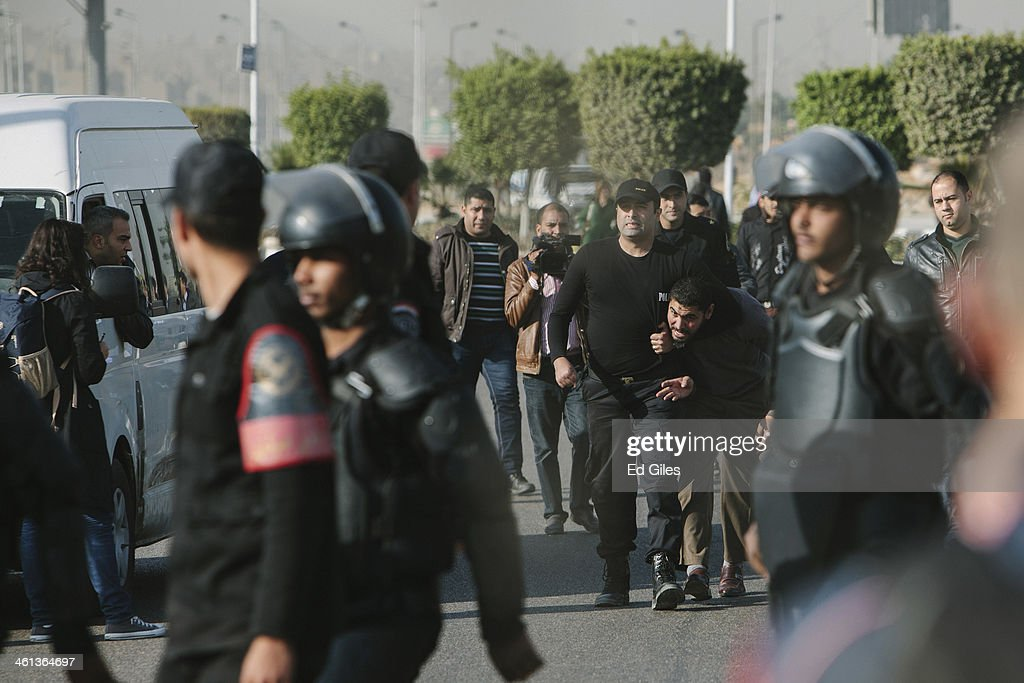 Riot Police Clear Protestors Ahead Of The Trial Of Former President Morsi : News Photo