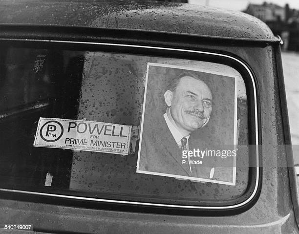 Supporter of Enoch Powell displays a 'Powell For Prime Minister' sticker during the run-up to the General Election, 11th February 1974.