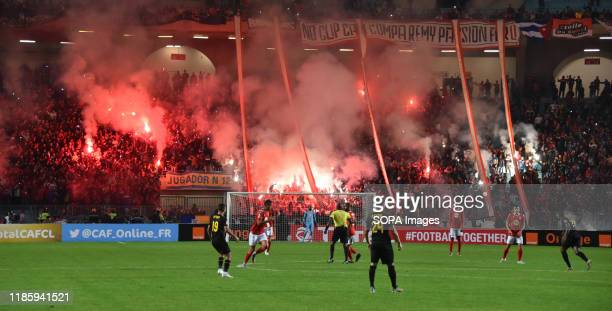 Supporter of Etloile sportive du sahel celebrate a goal during the CAF Champions League 2019 20 football match between AlAhly and Etoile sportive du...