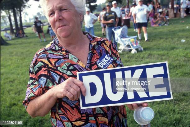 A supporter of former klansman David Duke attends a campaign rally for Duke as he runs for Governor in September of 1991 in Chalmette Louisiana