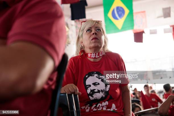 Supporter of former PresidentLuiz Inacio Lula da Silva watches the Supreme Court's sentence ruling at the Metal Worker's Union in Sao Bernardo do...