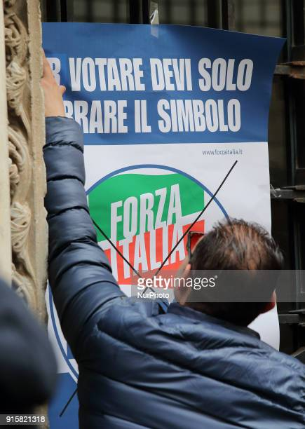 Supporter of Forza Italia party attends the presentation of Movement's Parliamentary candidates for the upcoming General election on February 8 2018...