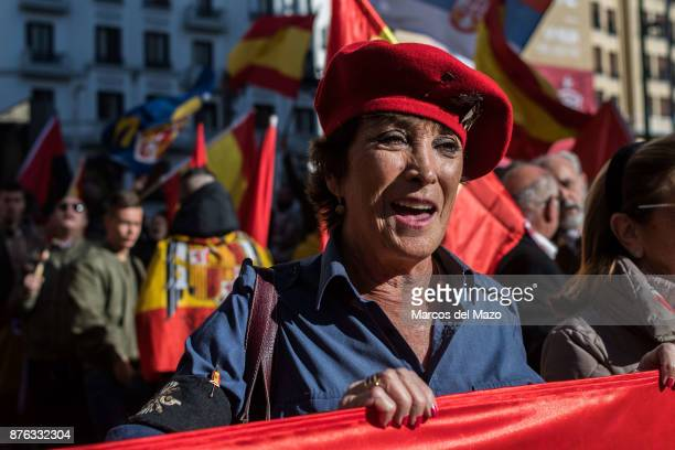 A supporter of Franco singing during a rally commemorating the 42nd anniversary of dictator Francisco Franco's death