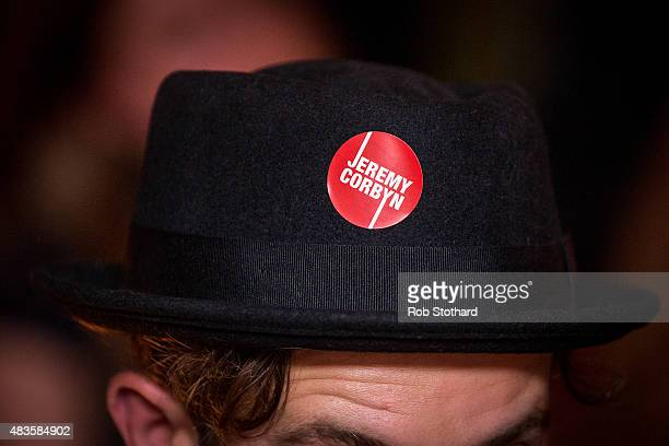 A supporter of Jeremy Corbyn for the Labour Party leadership attends a launch of policy ideas for young people at All Star Lanes on August 10 2015 in...