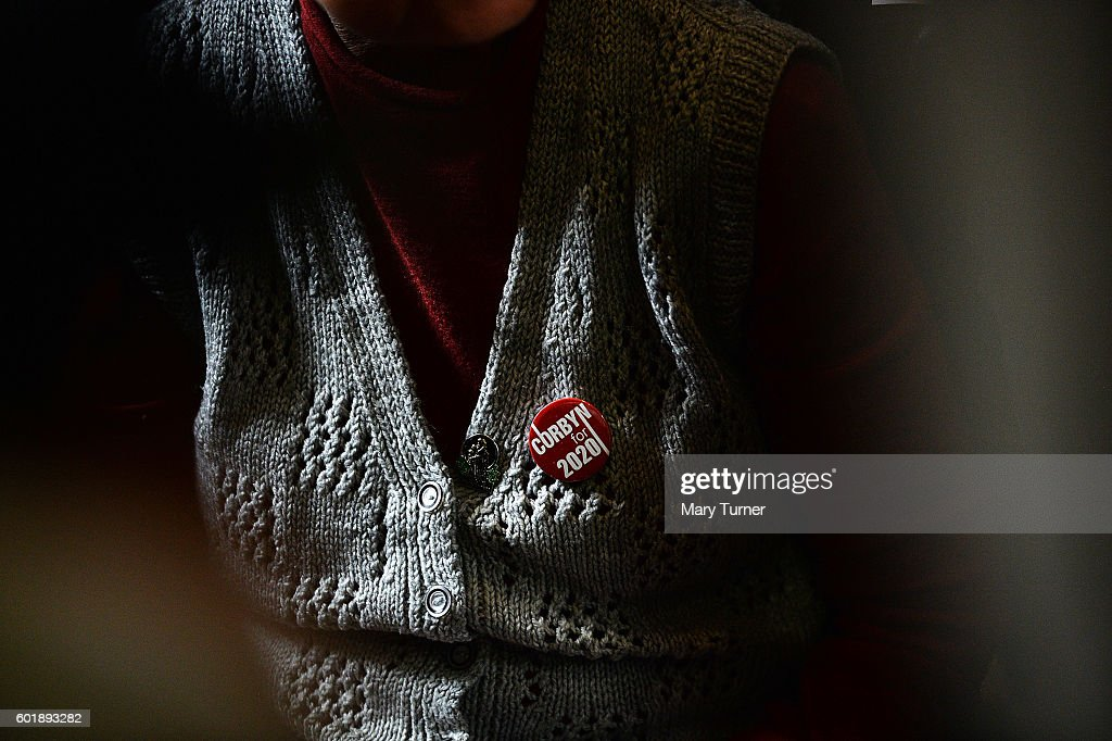 A supporter of Jeremy Corbyn MP, wears a badge of support at a rally at the National Union of Miners' headquarters, as he campaigns to retain his leadership of the Labour Party on September 10, 2016 in Barnsley, England. Mr Corbyn is being challenged for his leadership by Owen Smith MP after losing a vote of no confidence among his party's membership. The result of the contest will be announced on September 24th 2016.