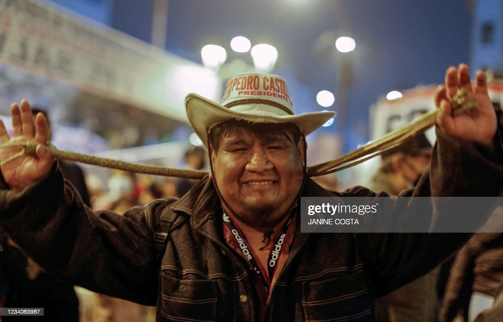 PERU-ELECTION-RESULTS-CASTILLO-SUPPORTERS : News Photo