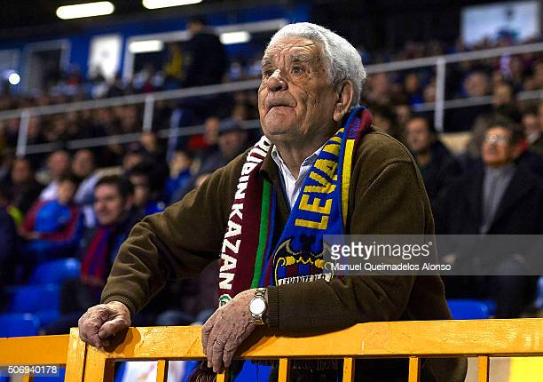 A supporter of Levante looks on prior to the La Liga match between Levante UD and UD Las Palmas at Ciutat de Valencia Stadium on January 25 2016 in...