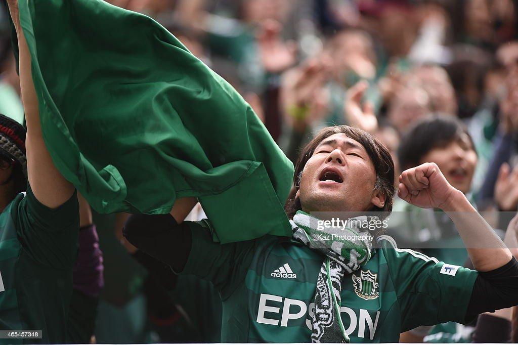 Supporter of Matsumoto Yamaga during the J. League match between Nagoya Grampus and Matsumoto Yamaga at Toyota Stadium on March 7, 2015 in Toyota, Japan.