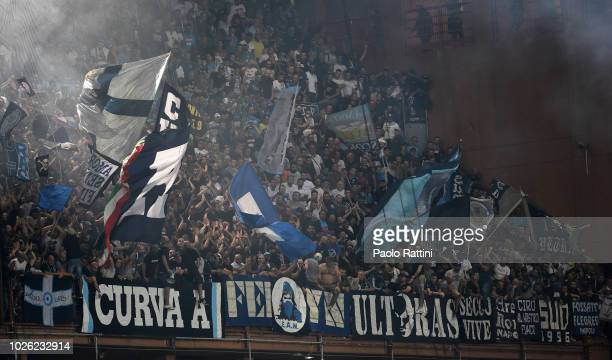 Supporter of Napoli during the serie A match between UC Sampdoria and SSC Napoli at Stadio Luigi Ferraris on September 2 2018 in Genoa Italy