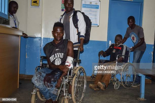 A supporter of opposition coalition the National Super Alliance who had been shot in his left arm and other injured supporters who were alledgedly...
